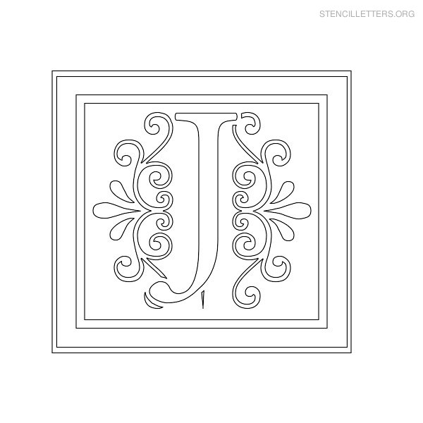 Stencil Letter Decorative J