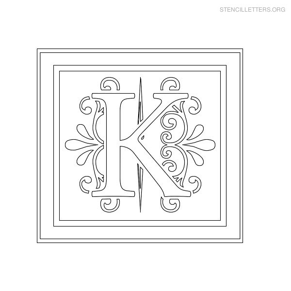 stencil letter decorative k