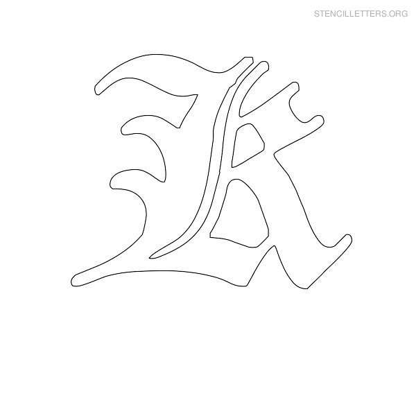 Stencil Letter Old English K