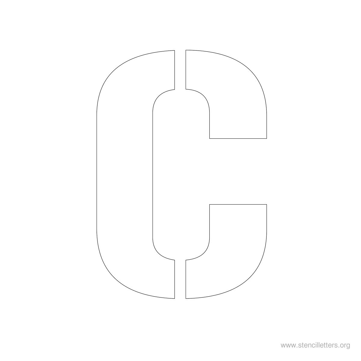 Large Stencil Letters Style #1 C