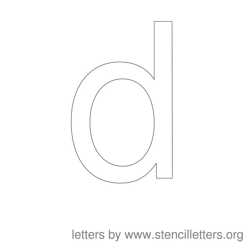 Lowercase Letter Stencil Large D
