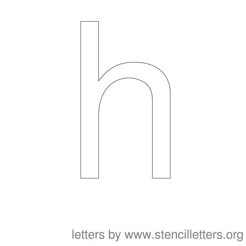 Lowercase Letter Stencil Large H
