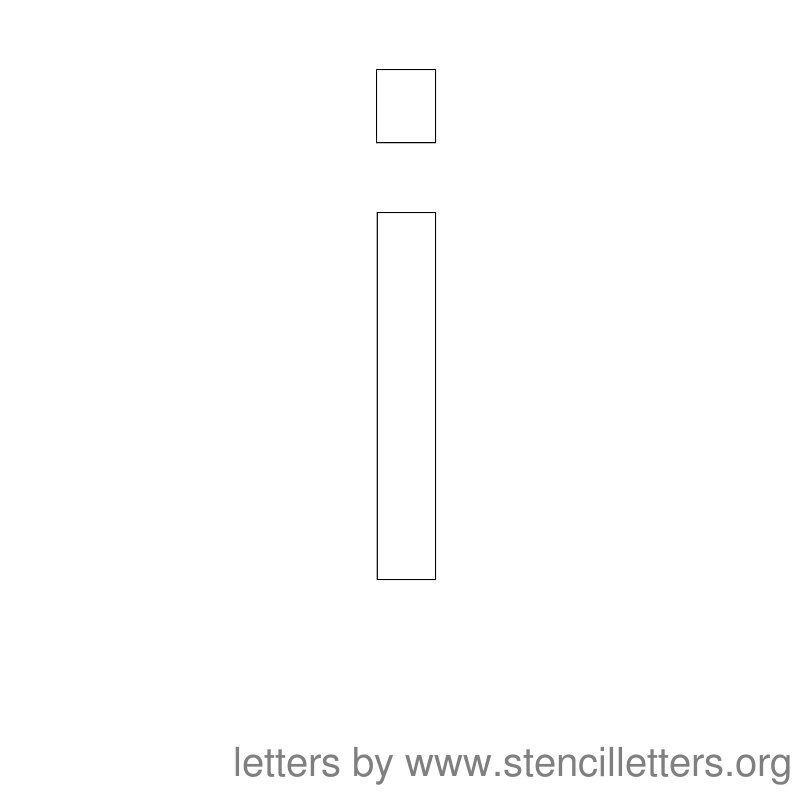Lowercase Letter Stencil Large I