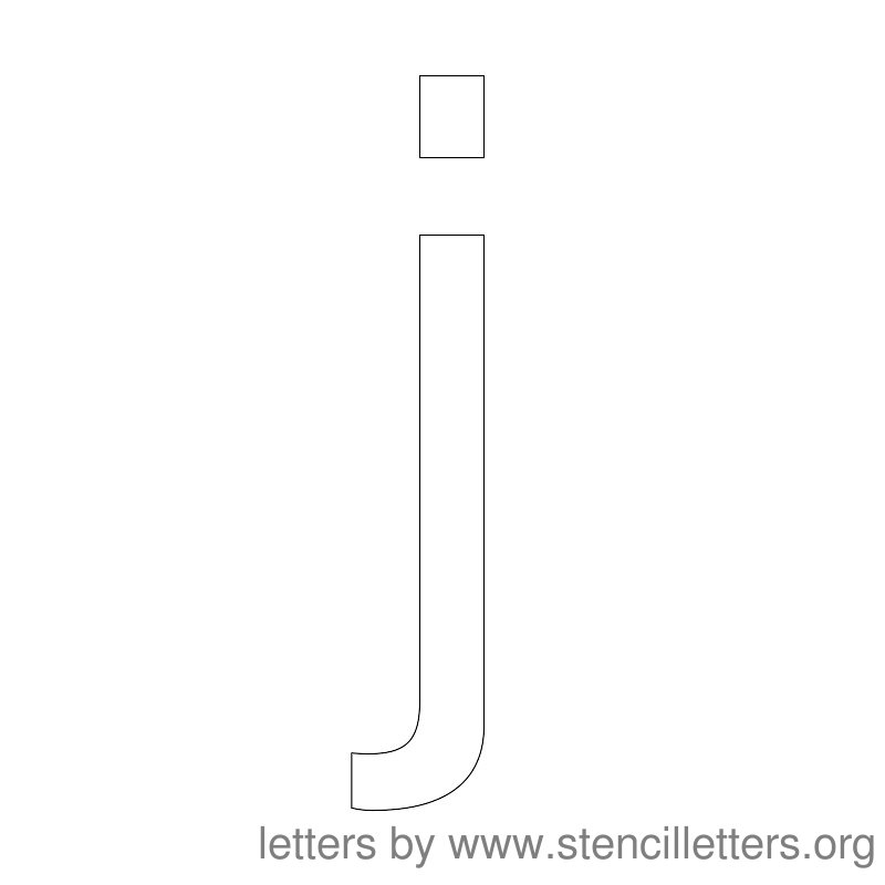 Lowercase Letter Stencil Large J