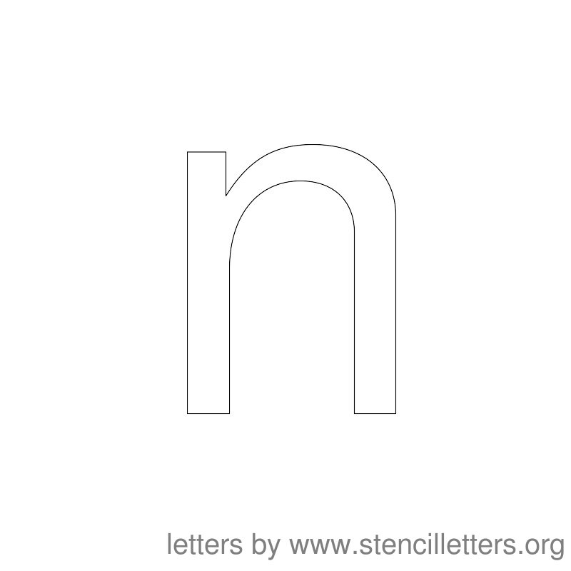 Lowercase Letter Stencil Large N