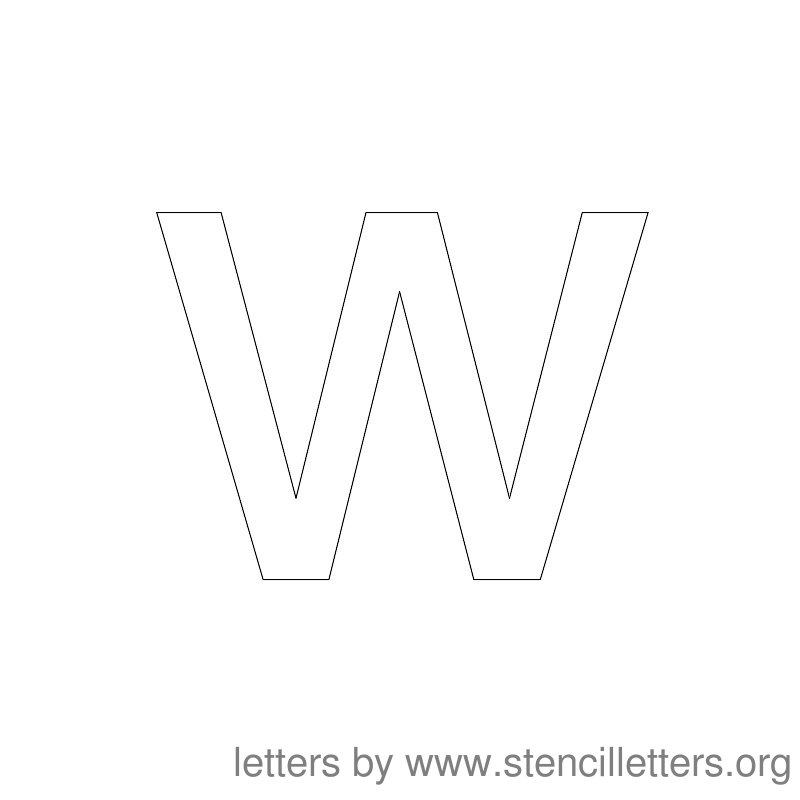Lowercase Letter Stencil Large W