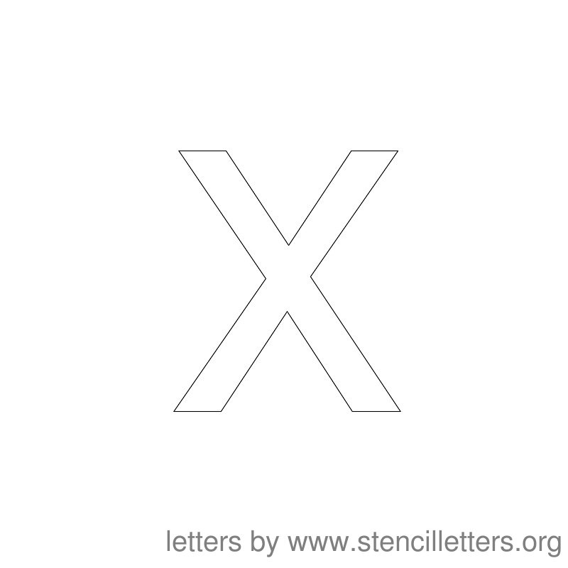 Lowercase Letter Stencil Large X