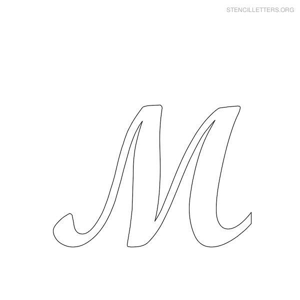 stencil letter cursive m