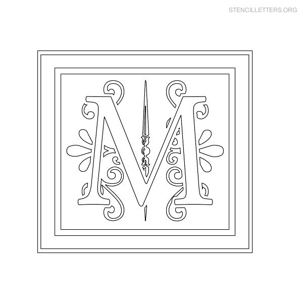 Stencil Letter Decorative M