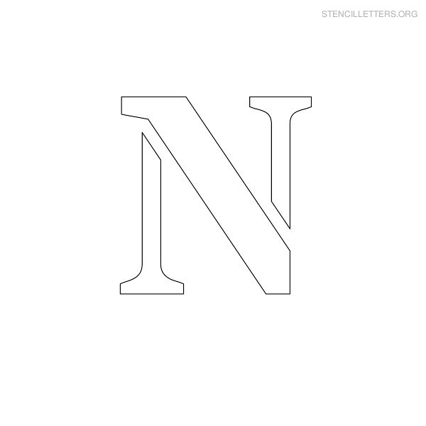 Stencil Letter Uppercase N