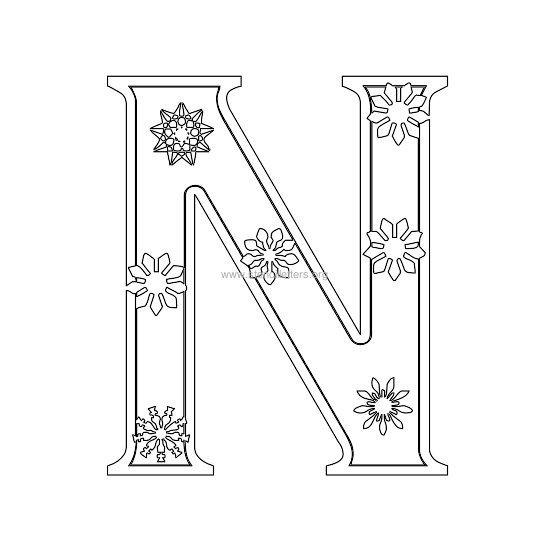 christmas stencil letter n