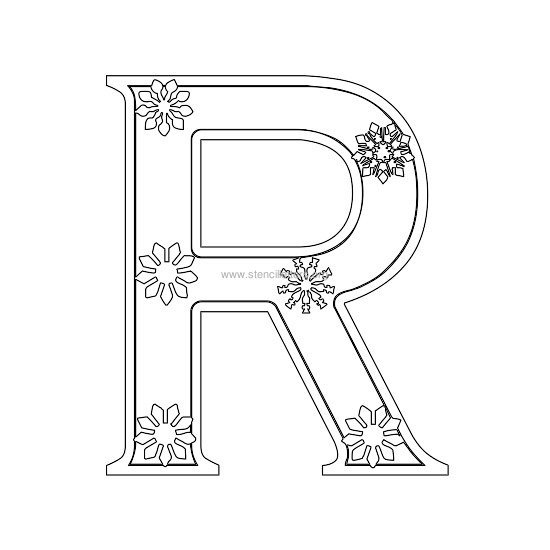 christmas stencil letter r