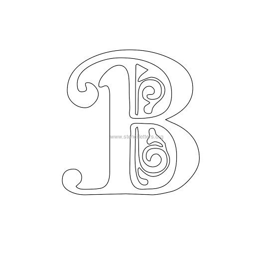 floral wall stencil letter b