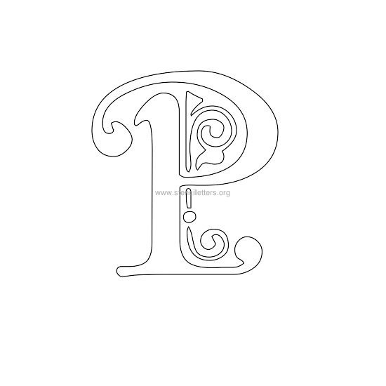 floral wall stencil letter p