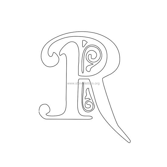 floral wall stencil letter r