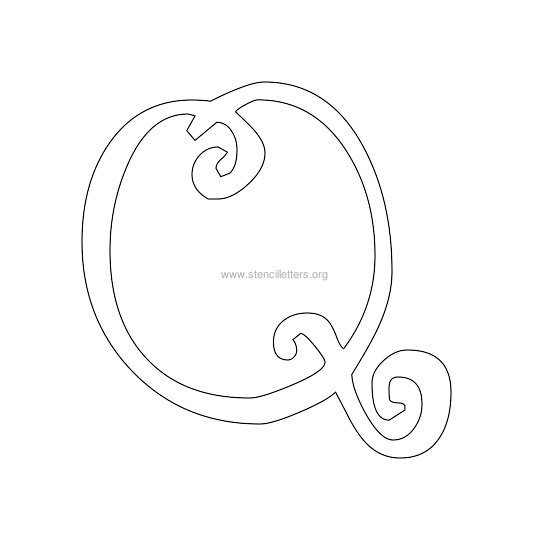 uppercase scrapbooking stencil letter q