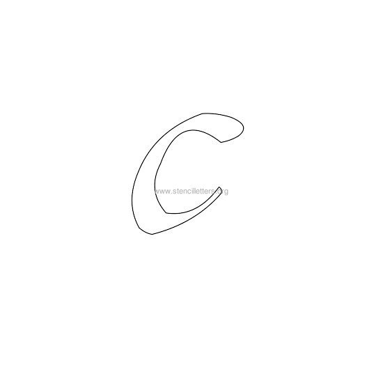 lowercase calligraphy wall stencil letter c