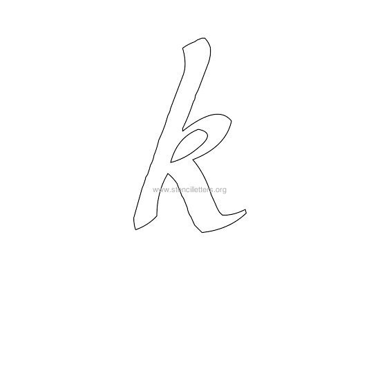 lowercase calligraphy wall stencil letter k