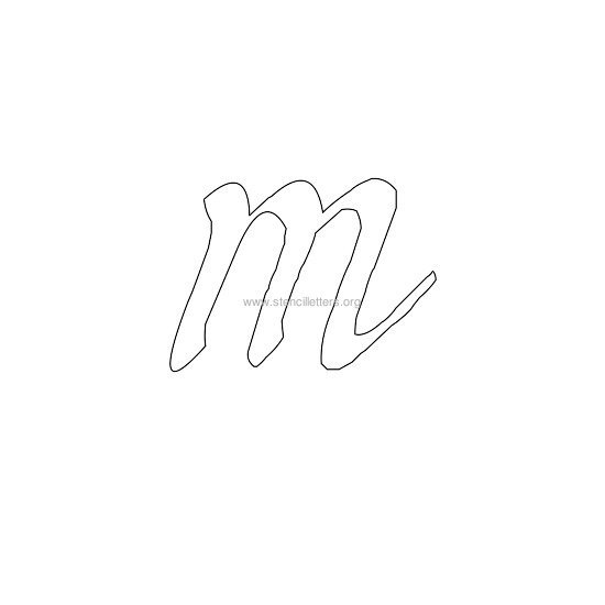 lowercase calligraphy wall stencil letter m