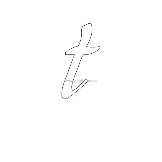 Lowercase Calligraphy Wall Stencil Letter T