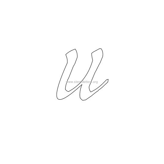 lowercase calligraphy wall stencil letter u