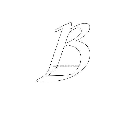 uppercase calligraphy wall stencil letter b