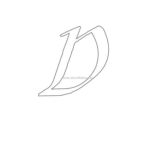 uppercase calligraphy wall stencil letter d