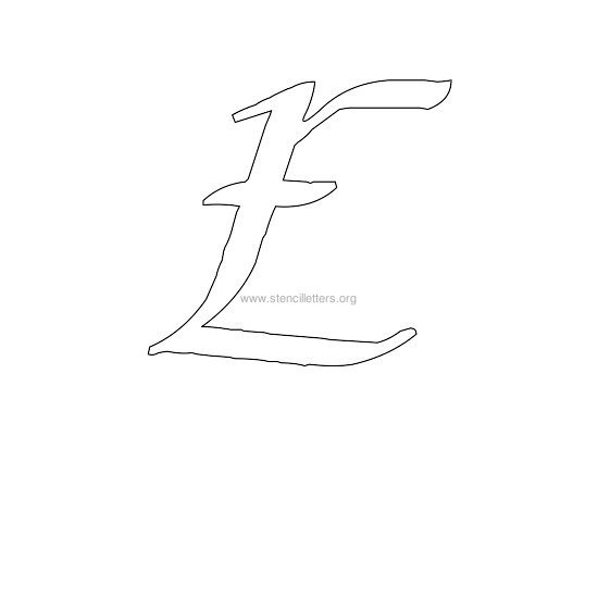 uppercase calligraphy wall stencil letter e