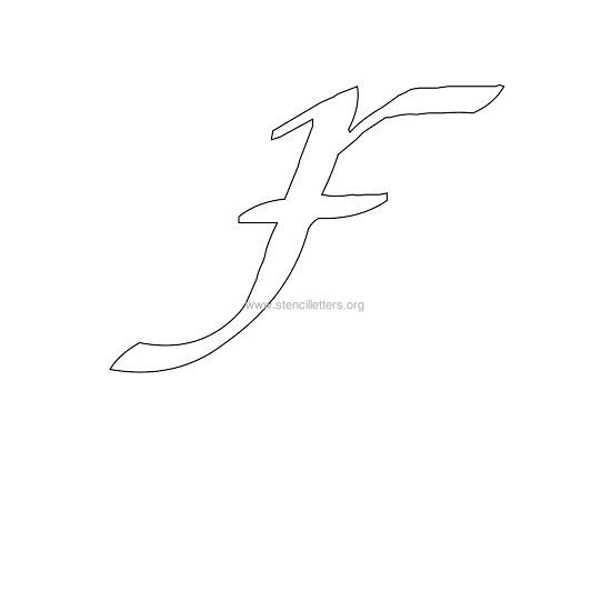 uppercase calligraphy wall stencil letter f