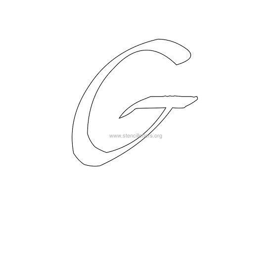 uppercase calligraphy wall stencil letter g