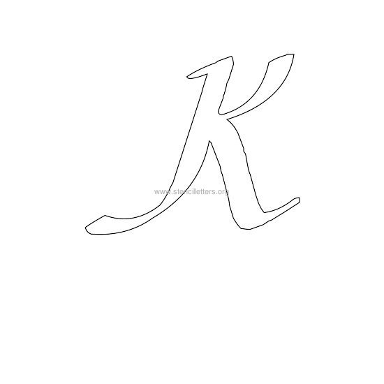 uppercase calligraphy wall stencil letter k