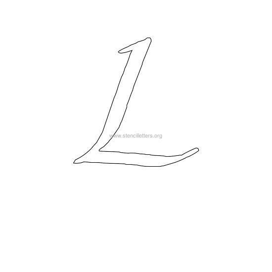 uppercase calligraphy wall stencil letter l