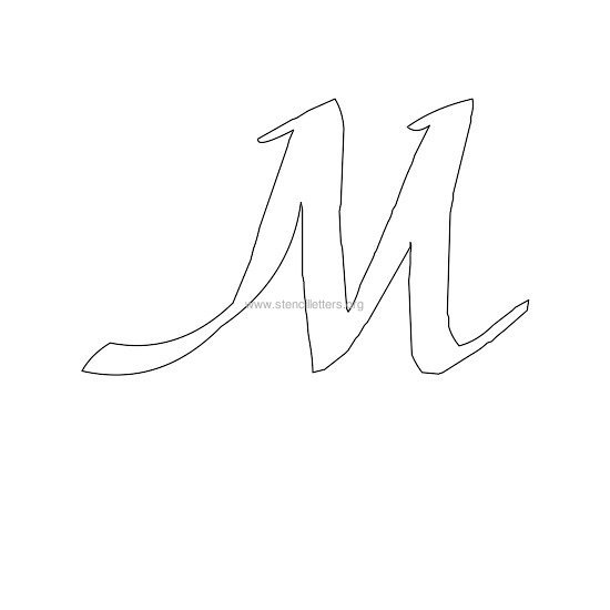 uppercase calligraphy wall stencil letter m