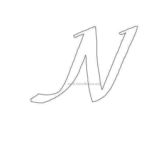 uppercase calligraphy wall stencil letter n