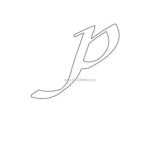 uppercase calligraphy wall stencil letter p