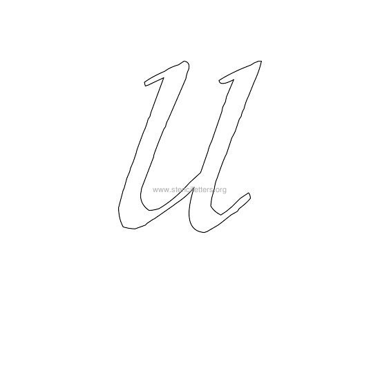 uppercase calligraphy wall stencil letter u