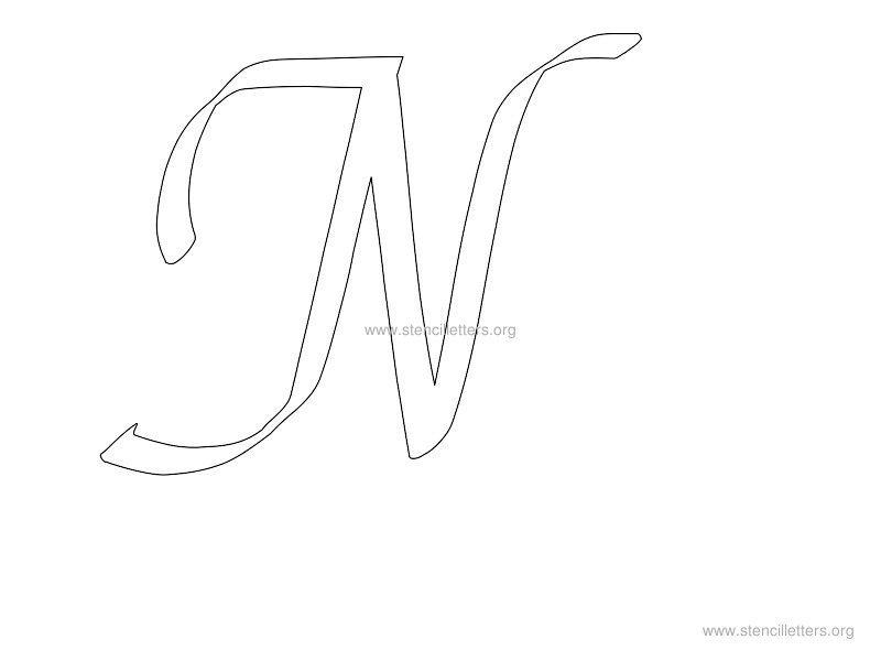 Cursive Lowercase n Cursive Stencil n