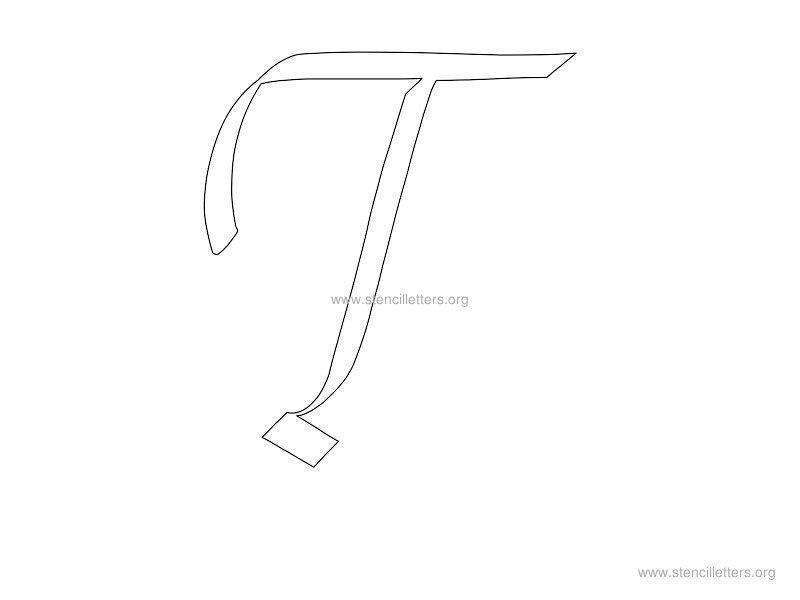 Worksheets Letter T Cersive cursive wall letter stencils stencil letters org t