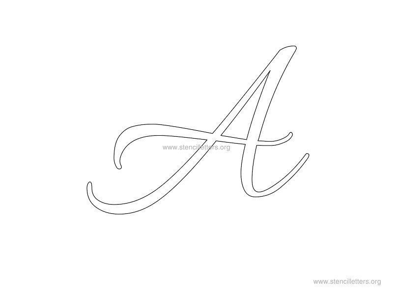 Cursive Wall Stencil Letter A