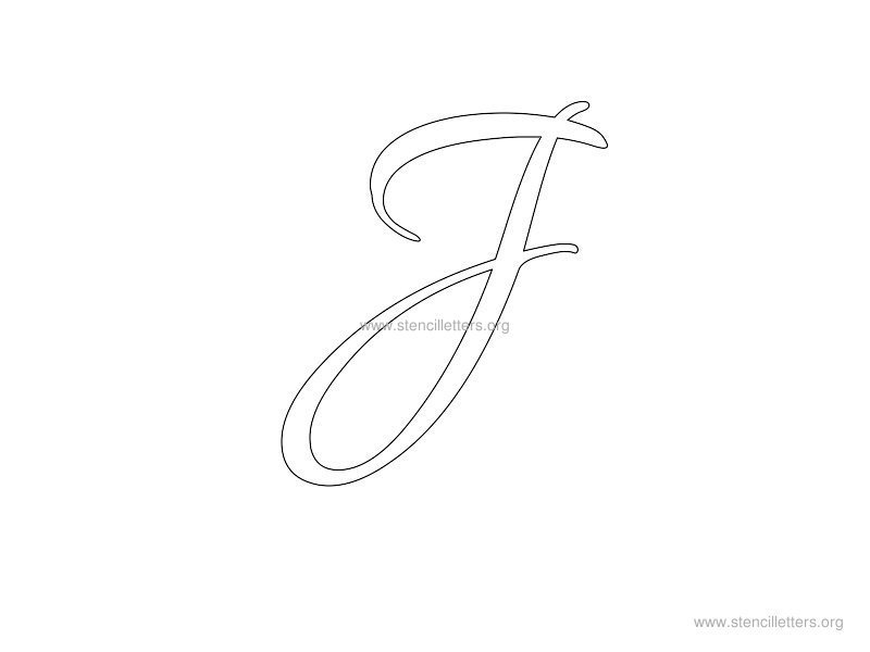 cursive wall stencil letter j