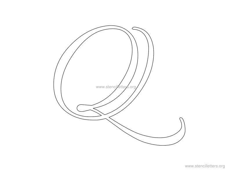 cursive wall stencil letter q