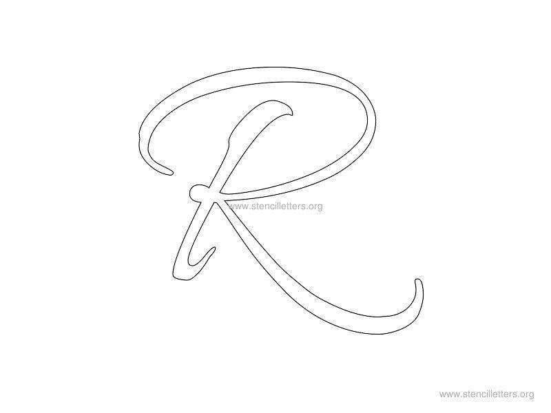 cursive wall stencil letter r