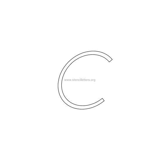 lowercase italic wall stencil letter c