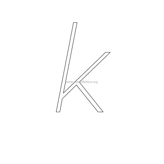 lowercase italic wall stencil letter k