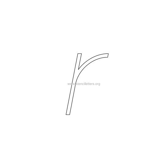 lowercase italic wall stencil letter r