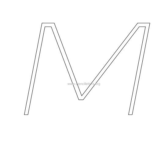 uppercase italic wall stencil letter m
