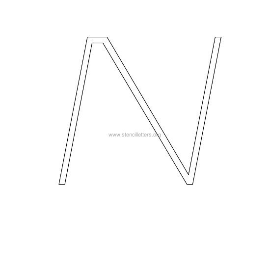 uppercase italic wall stencil letter n
