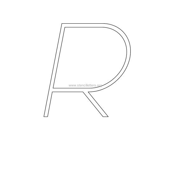 uppercase italic wall stencil letter r