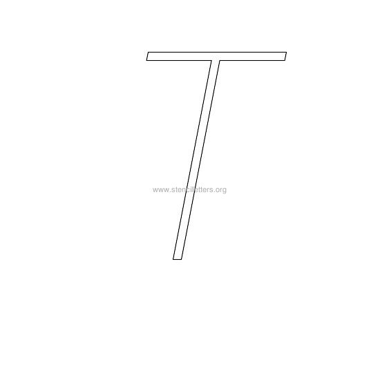 uppercase italic wall stencil letter t