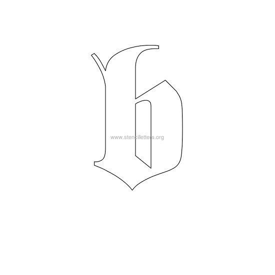 lowercase old-english wall stencil letter b